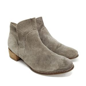 Seychelles Score Suede V Taupe Gray Ankle Bootie